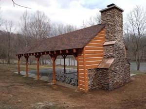 Timber Frame Pavilion Fireplace, outdoor living area, outdoor timber structure, timber structure, outdoor wooden structures, timber frame pavilion