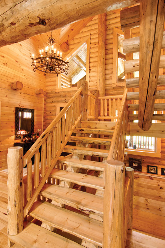 Handcrafted Lodgepole Pine Stairs