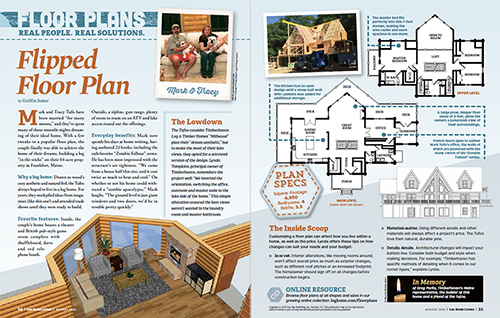 magazine article, flipped floor plan, log home plan, floor plan, modified Millwood, Timberhaven, log home, log home living, building with logs, custom design, kiln dried