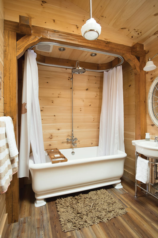 Specialty timber framing in bathroom.