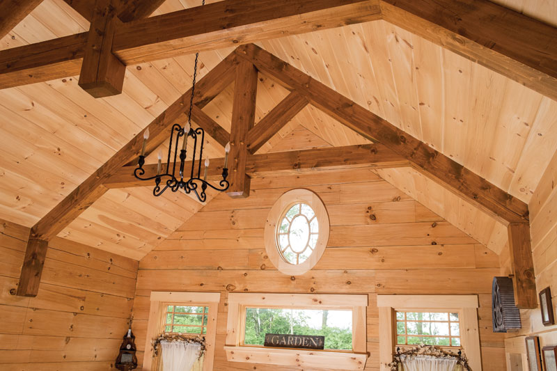 Timber Frame Truss in Log Home.
