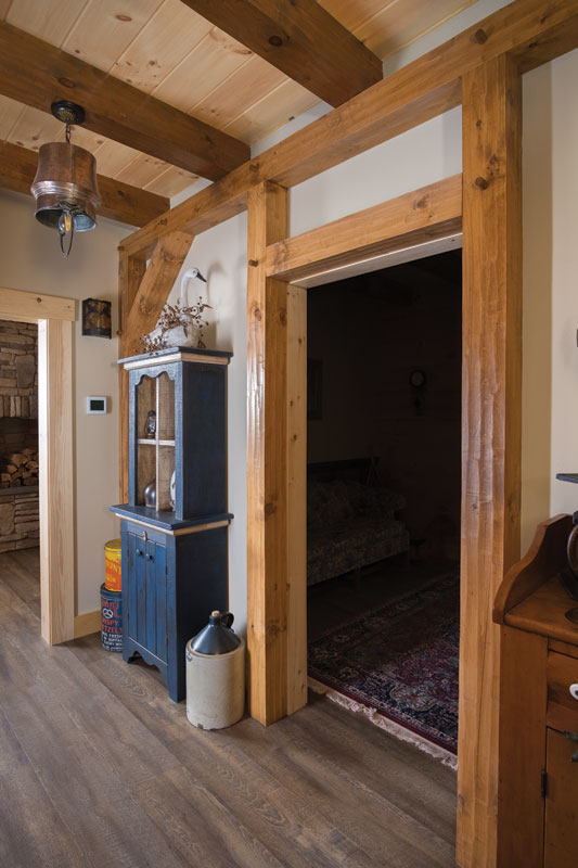 Specialty timber framing in hallway.