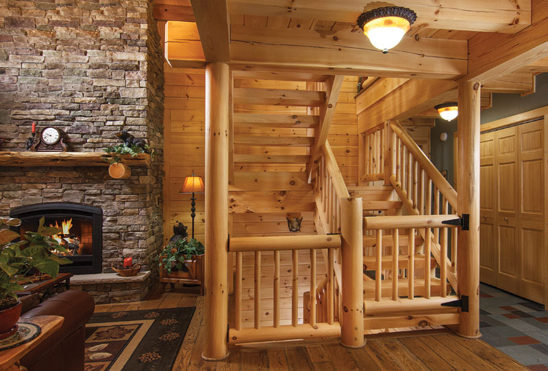 Round White Pine Stair and Rail System