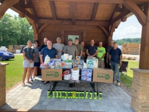 group of people with supplies, pay it forward, random acts of kindness, kindness matters, RAKs, Timberhaven, community support, middleburg, PA