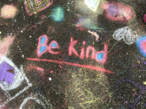 be kind written on pavement, pay it forward, random acts of kindness, Timberhaven Team, community outreach