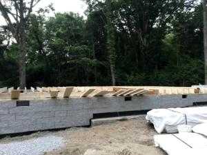 crawlspace foundation with sub floor, new model log home, foundation, crawlspace, foundation for new log home, log home foundation