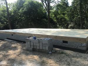 crawlspace foundation with subfloor, new model log home, foundation, crawlspace, foundation for new log home, log home foundation
