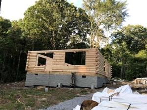 log home being built, under construction, model home, log home, Timberhaven