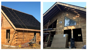 log home being built, log homes, log cabin home, new model home, local TN rep, under construction, weathertight log home
