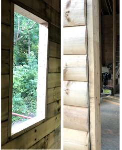 bucks around windows and doors, log homes, under construction, model home, local TN rep, Timberhaven