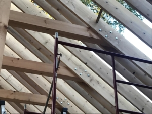 collar tie assembly, rafter roof, under construction