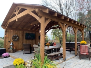 timber frame pavilion with patio furniture, outdoor living spaces, timber frame pavilion, timber frame, pavilion kit, outdoor living structures