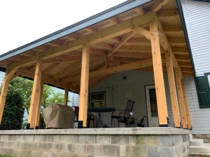 timber frame porch, timber frame porch addition, Timberhaven, materials package, custom design