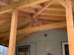 timber frame porch ceiling, timber frame porch addition, Timberhaven, materials package, custom design