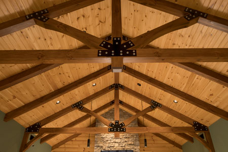 Post & Beam Trusses with gusset plates.