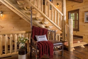 half log stair case, custom log home, Timberhaven, engineered logs, log homes in PA, kiln dried, custom home package