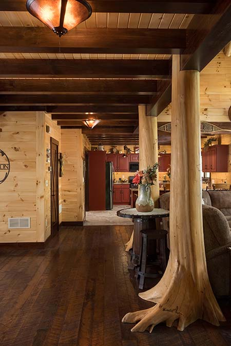 Entryway in log home.