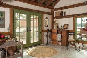 Rustic retreat finished with various timber elements