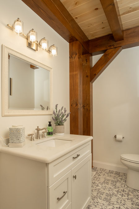 Half bath with timber post