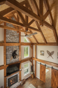 Timber Frame Trusses and Bent, timber frame home, timber frame living area, timber accents, Timberhaven
