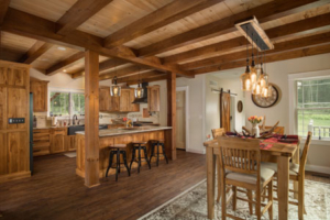 Timber Frame Kitchen and Dining, timber frame home, timber frame living area, timber accents, timberhaven