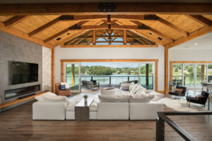 great room with wood ceiling, timbers, timber accents, timberhaven, modern touch of timber