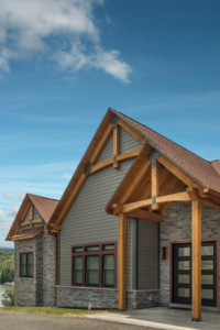 timber trusses at front of home, decorative trusses, timber accents, timberhaven, modern touch of timber