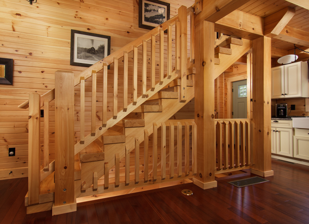Traditional heavy timber stair system.