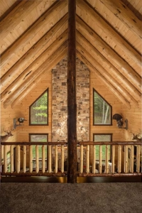 rafters in ceiling with view from loft, custom log home, Timberhaven, engineered logs, log homes in PA, kiln dried, custom home package