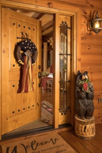 front door propped open, custom log home, Timberhaven, engineered logs, log homes in PA, kiln dried, custom home package