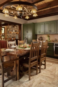 dining room table and cabinets, log home with stone in the woods, custom log home, Timberhaven, engineered logs, log homes in PA, kiln dried, custom home package