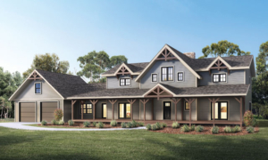 rendeirng of two story home with timbers, Loganton Timber Frame Design, Hybrid Home Design, Timber Accents, Timberhaven