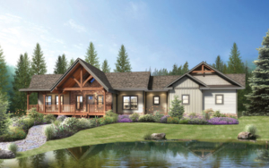 timber frame home rendering, Saratoga home design, timber frame home, hybrid home, Timberhaven