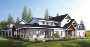 large white home with timber accents, Shade Haven, timber frame design, hybrid home design, Timberhaven