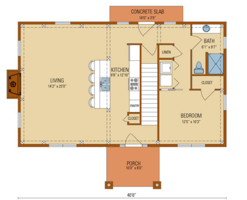 Craftsman Timber Frame First Floor Plan