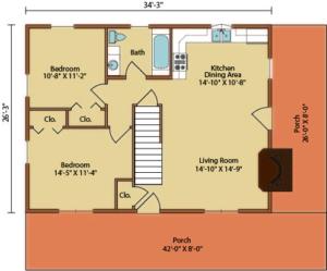 floor plan of home, valley view I, first level floor plan, timberhaven