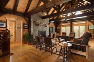 living room of timber frame home, timber frame home, timber home, timber living, timber home living, timberhaven, saratoga