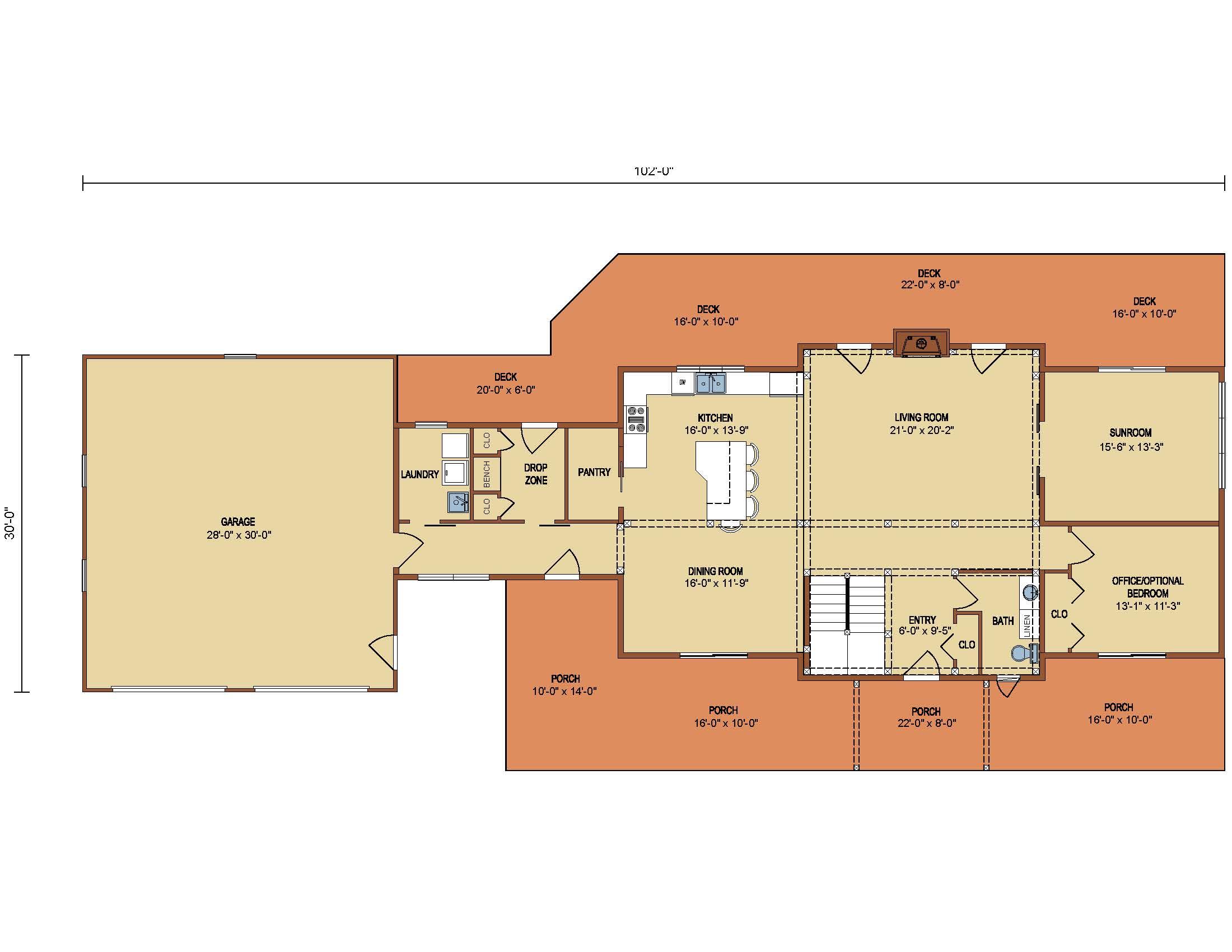 Loganton Timber Frame 1st Level Floor Plan