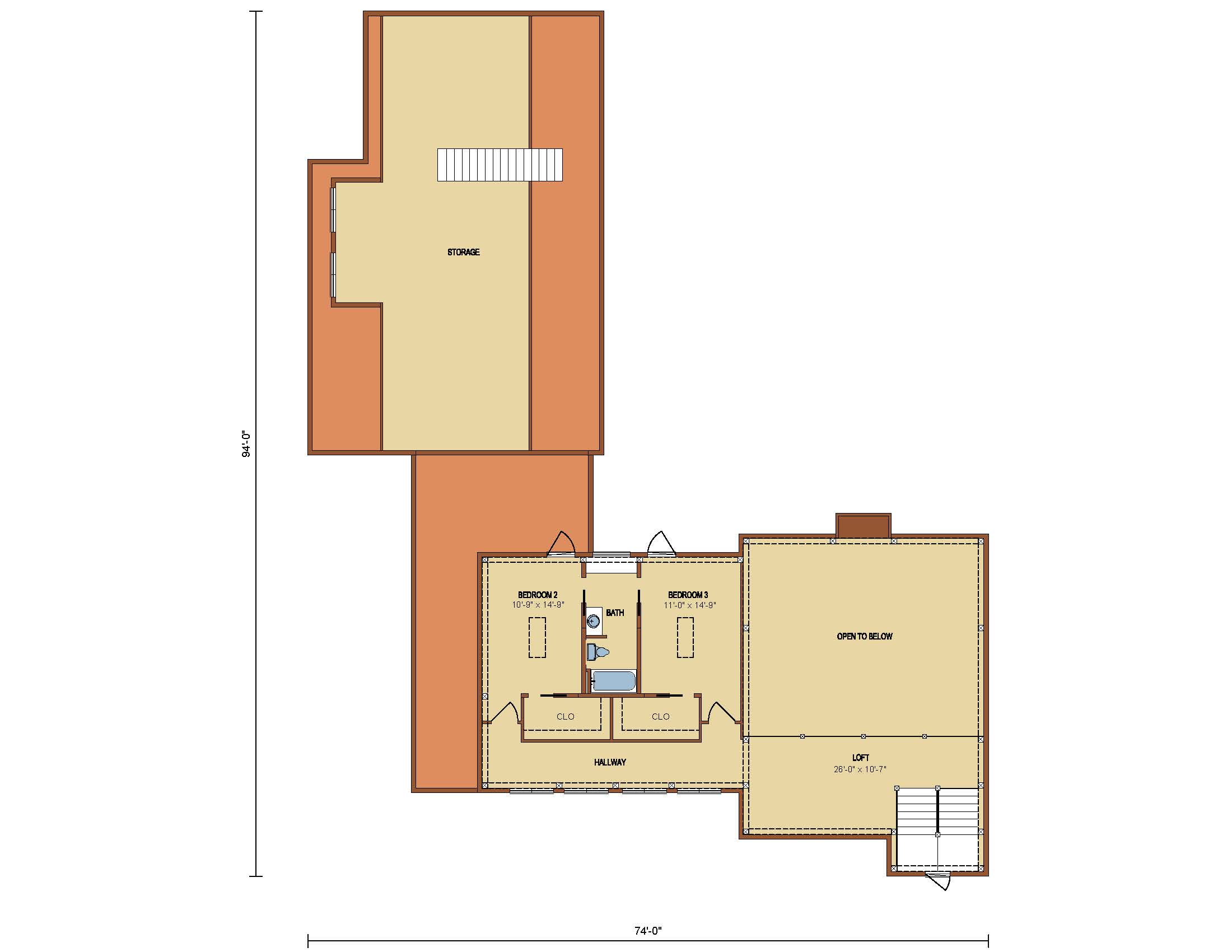 Shade Haven Timber Frame Second Level Floor Plan