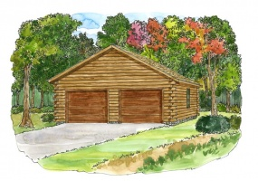 2-car-garage,Timberhaven Log Home