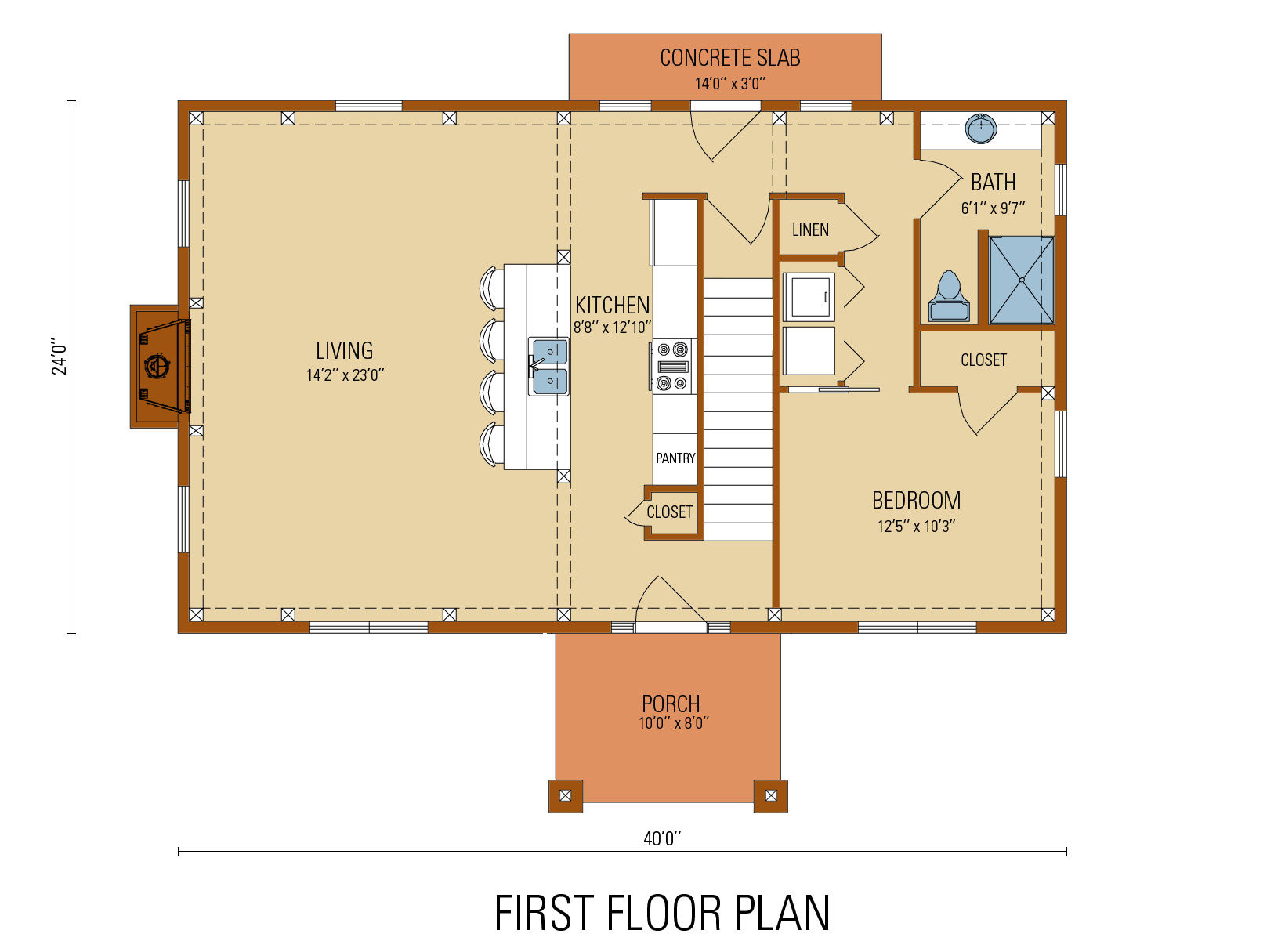 Craftsman Timber Frame  Floor Plan, first level