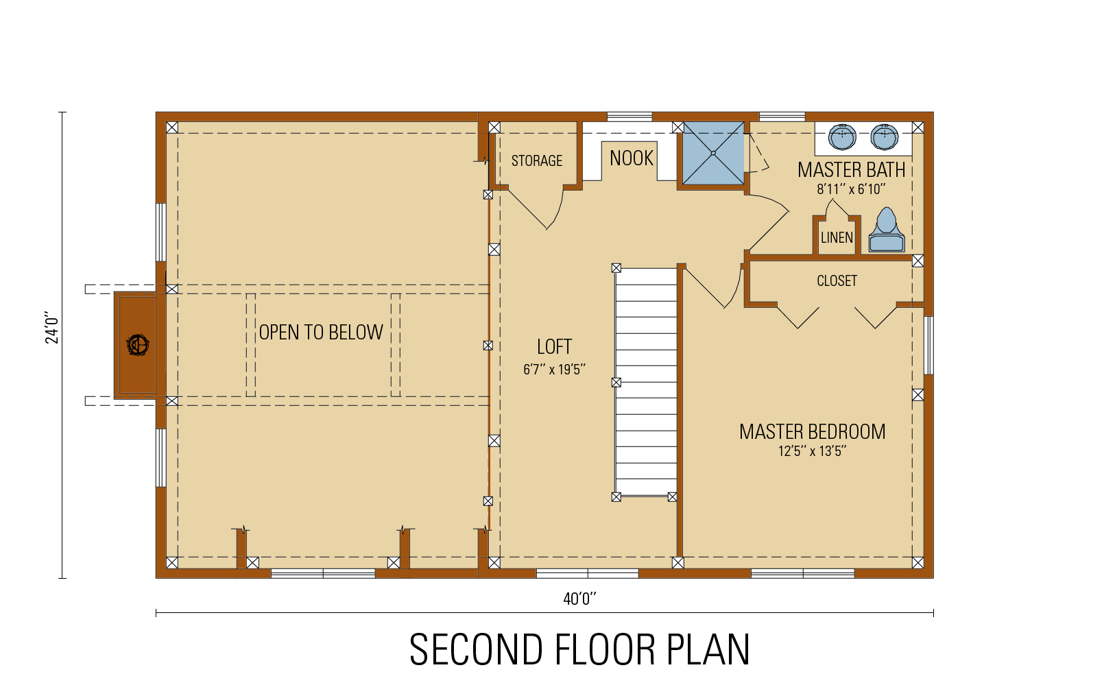 Craftsman Timber Frame  Floor Plan, second level