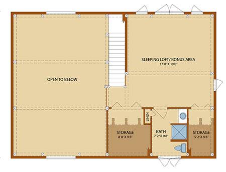 Cottage Timber Frame Second Level Floor Plan