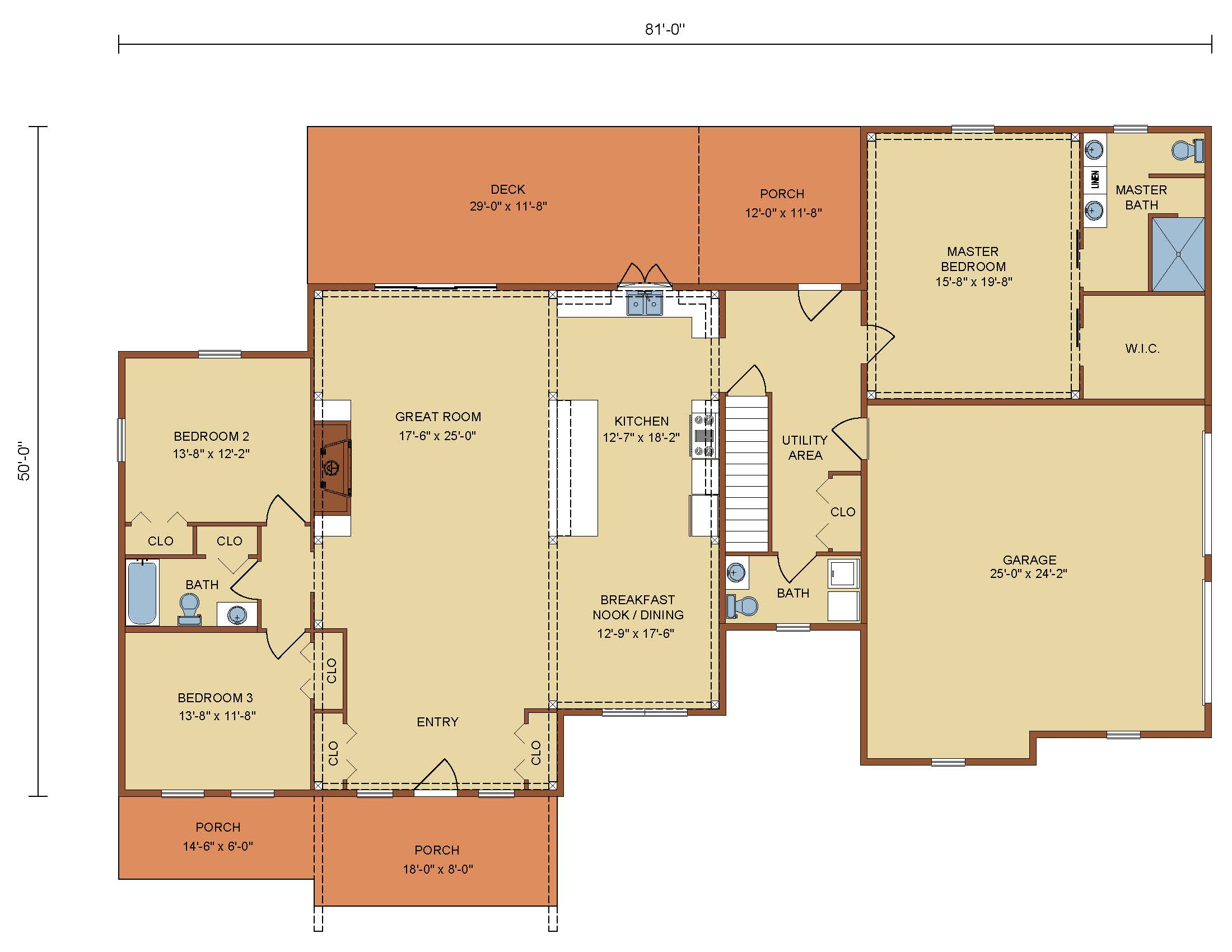 Saratoga Timber Frame First Level Floor Plan